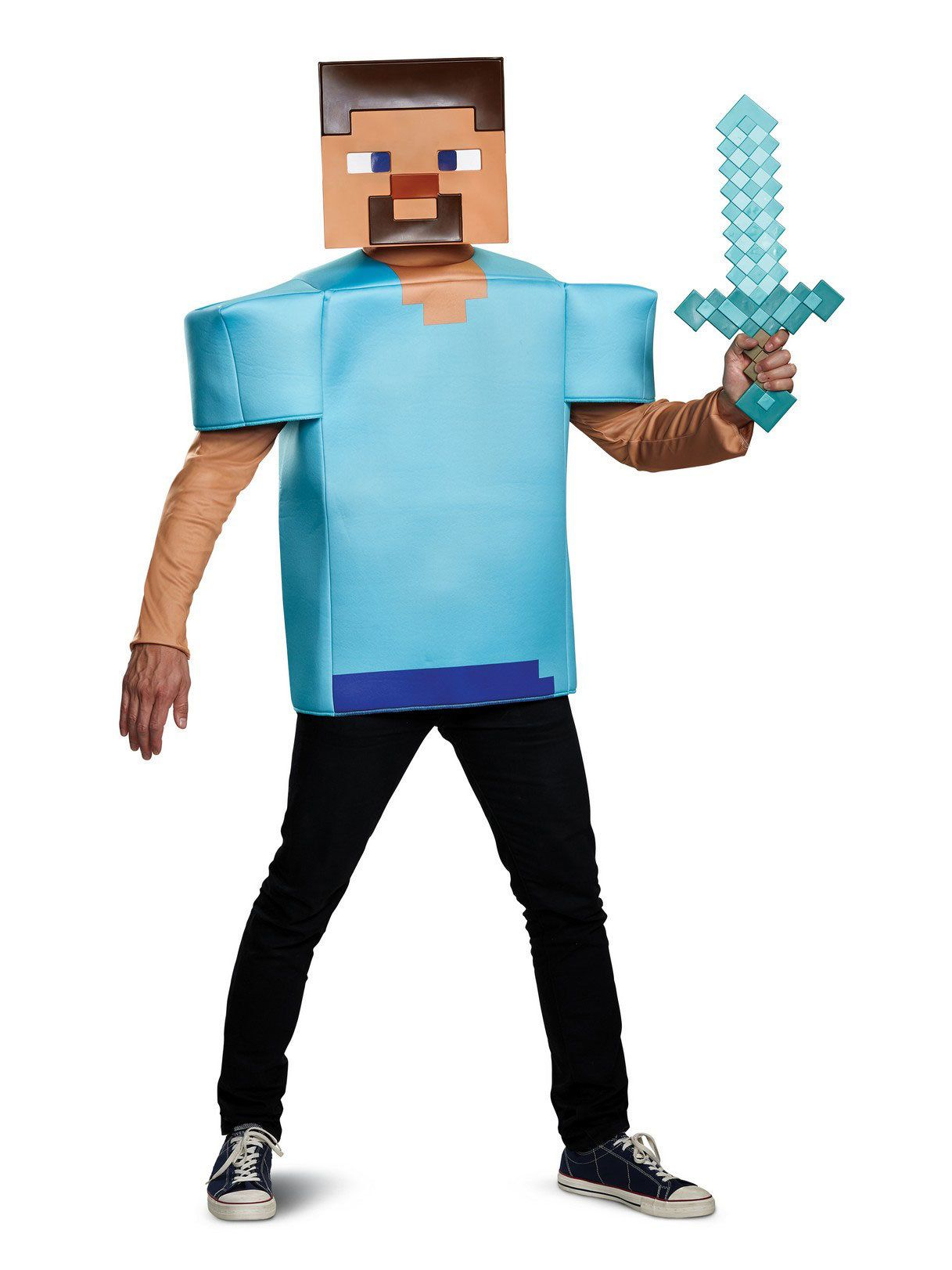 classic minecraft steve costume for adults mens costumes