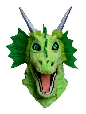Moving Jaw Green Dragon Mask for Adults