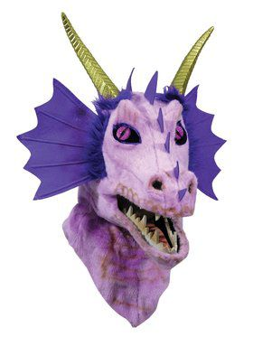Moving Jaw Purple Dragon Mask for Adults