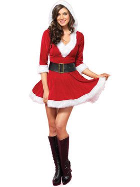 Mrs. Claus Velvet Hooded Women's Dress