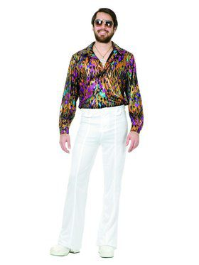 Plus Adult's Super Hot Multi Flame Disco Shirt