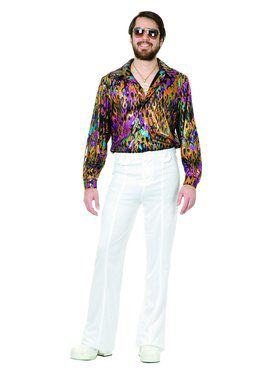 Men's Super Hot Multi Flame Disco Shirt