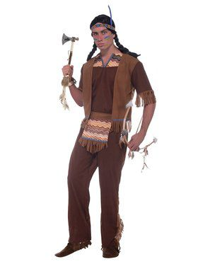 Native American Brave Adult Costume  sc 1 st  Wholesale Halloween Costumes & Mens Indian Halloween Costumes at Low Wholesale Prices