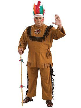 Native American Indian Warrior Adult Plus Costume