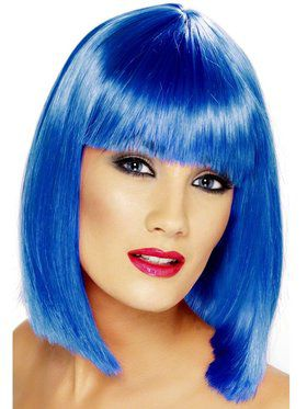 Neon Blue Glam Adult Wig