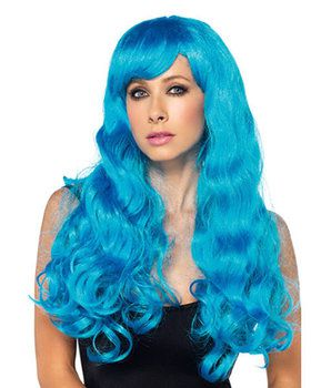 Neon Blue Starbright Long Wavy Wig