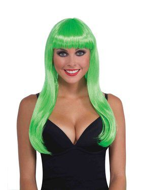 Womens Neon Green Long Wig