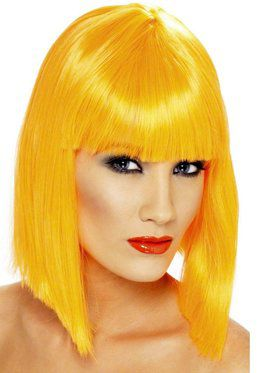 Neon Orange Glam Adult Wig