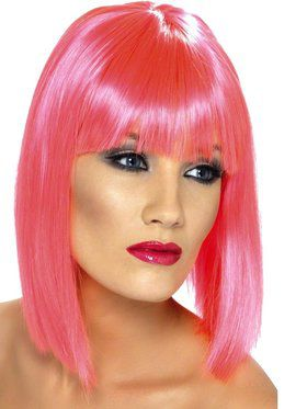 Neon Pink Glam Adult Wig