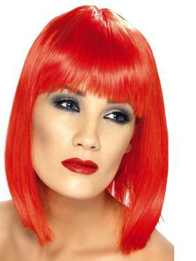 Neon Red Glam Adult Wig