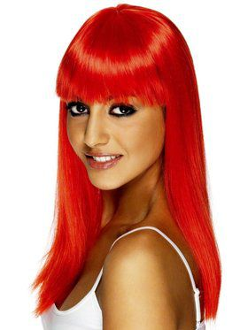 Neon Red Glamourama Adult Wig