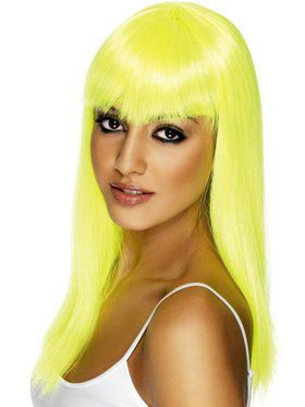 Neon Yellow Glamourama Adult Wig