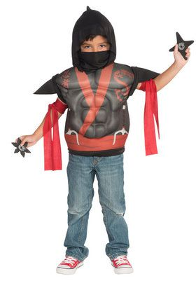 Toddler Red and Black Ninja Muscle Shirt Costume