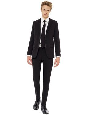 OppoSuits Black Night Teen Boys Suit And Tie Set