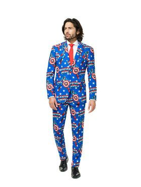 Men's Blue Captain America OppoSuits Set