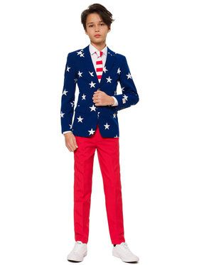 OppoSuits Stars And Stripes Teen Boys Suit And Tie Set