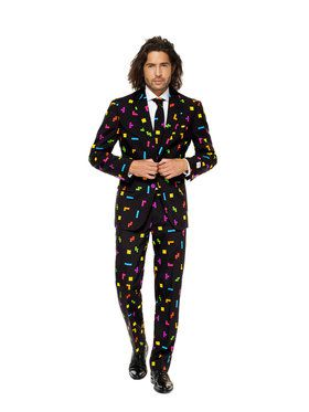 OppoSuits Tetris Mens Suit and Tie Set for Halloween