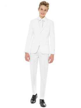 OppoSuits White Knight Teen Boys Suit And Tie Set