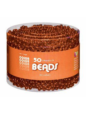 Shiny Orange Bead Necklaces-50 pack