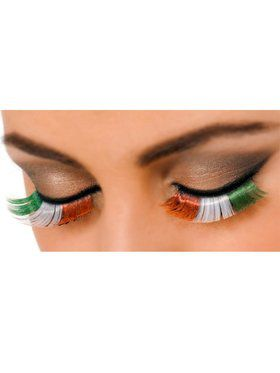 Orange Green and White Eyelashes