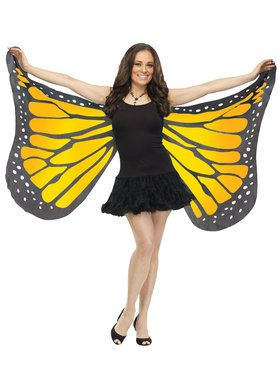 Orange Satin Butterfly Wings For Adults