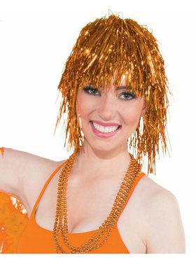 Womens Orange Tinsel Wig Accessory
