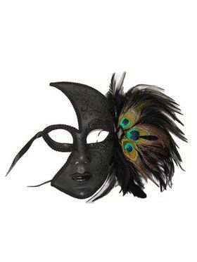 Peacock Feather Black Half Mask