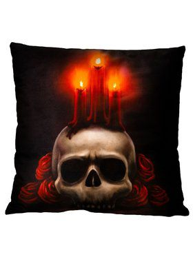 Skull and Candles Pillow