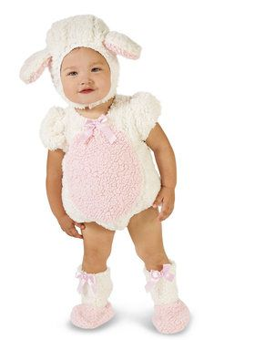Pink and White Lamb Costume For Babies