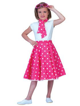 Pink and White Sock Hop Skirt Girl's Costume