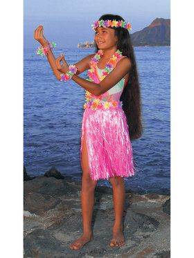 Pink Nylon Hula Set Child Costume