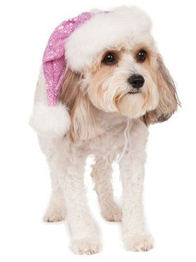 Pink Sequin Santa Hat Accessory for Pets