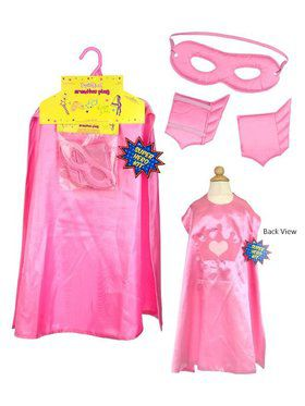 Pink Super Hero Cape Set Girl's Costume