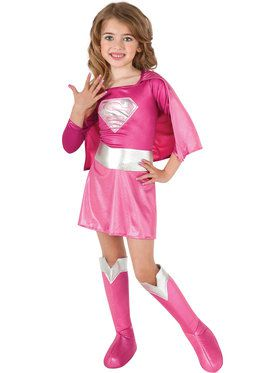 Pink Supergirl Child Costume for Halloween
