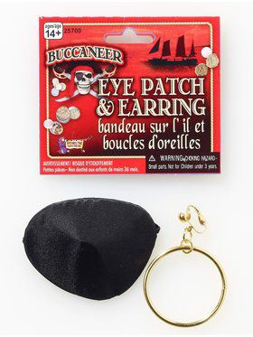 Pirate Earring and Eye Patch Set