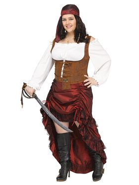Womens Plus Queen of Pirates Costume