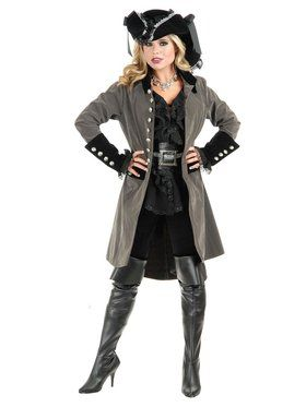 Pirate Vixen Coat Adult Gun Metal