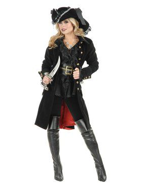Pirate Vixen Coat Black Women's Costume