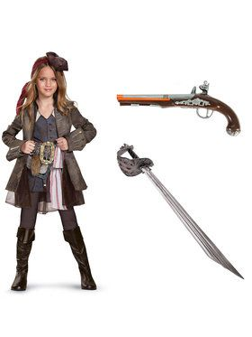 Pirates of the Caribbean Captain Jack Girls Deluxe Costume Kit