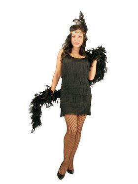 Plus Fashion Flapper Dress - Black