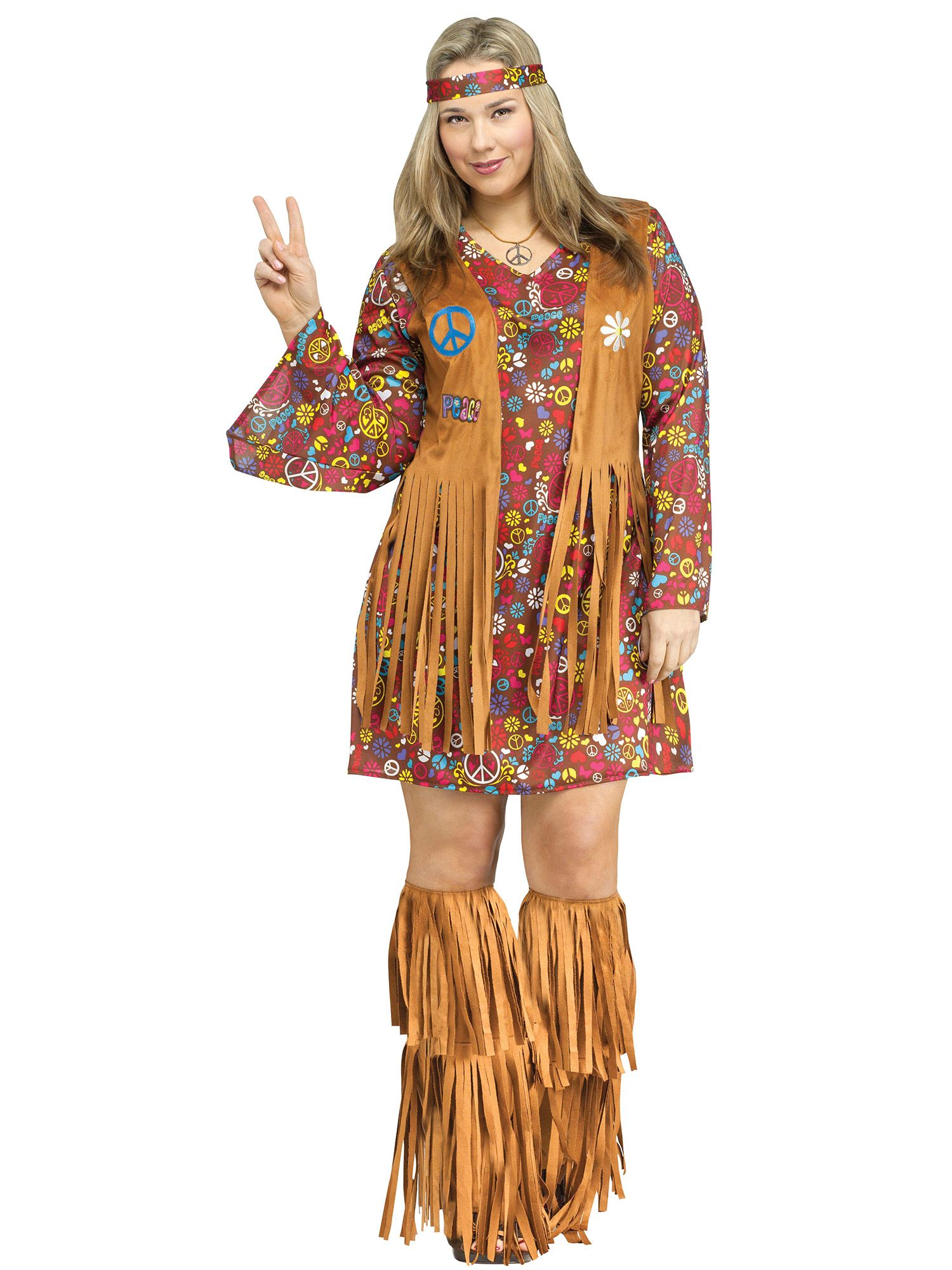 Plus Size Adult Plus Size Peace and Love Hippie Costume FW123455-PLUS