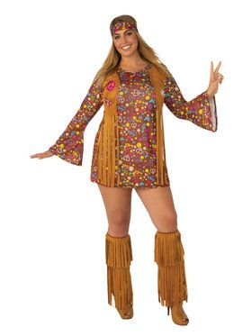 Womens Plus Size Peace and Love Hippie Costume