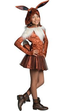 Pokemon Eevee Hooded Girl's Costume