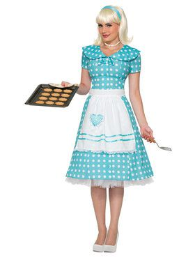 Polka Dot House Wife Costume For Adults