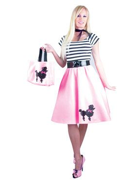 Poodle Set 50s Sock Hop Retro Black Fuchsia Dress Up Halloween Adult Costume