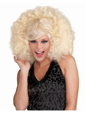Pop Afro Wig Blonde Adult