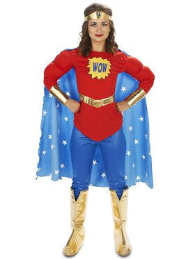 Pop Art Comic Super Woman Adult Costume for Halloween
