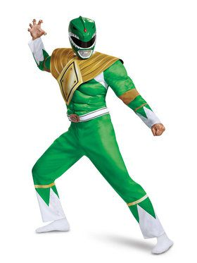 Mighty Morphin Power Rangers Muscle Classic Green Ranger Costume for Adults