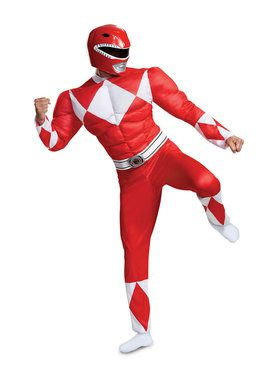 Mighty Morphin Power Rangers Muscle Classic Red Ranger Costume for Adults