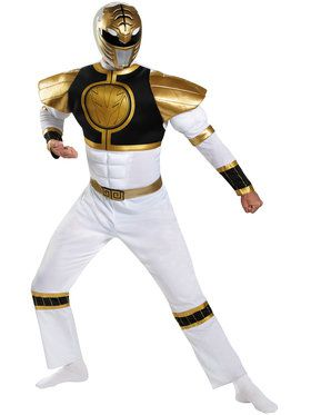 Power Ranger's White Ranger Classic Muscle Mens Costume